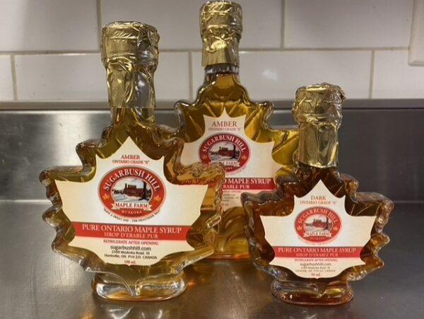 Assorted Size Maple leaf shaped bottles